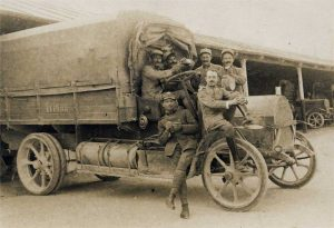 Trucks played a big part in WWI efforts. Their use in the war encouraged further development and models improved rapidly.